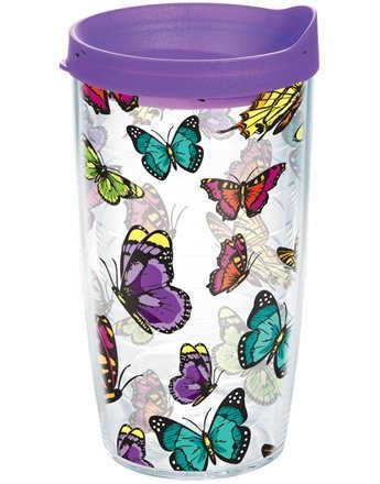 Tervis Tumbler Butterflies Wrap 16oz with Purple Travel Lid