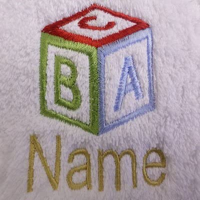 EFY White Baby Hooded Bath Robe or White Hooded Towel with a ABC CUBE Logo and Name of your choice. Hooded Towel 0-5 years