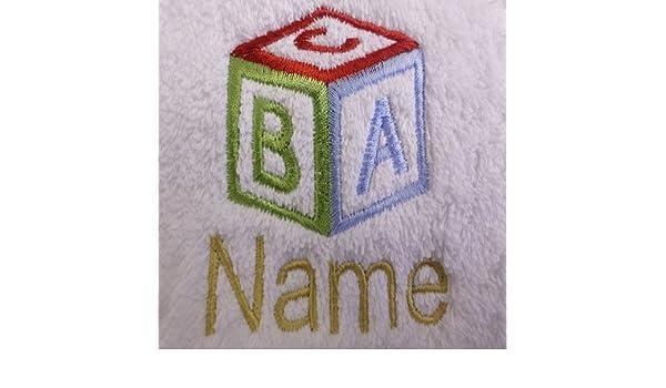 Toalla para la cara, toalla de mano, toalla de baño, baño (o) personalizado con ABC cubo Logo y nombre de su elección, White, Black, Aqua, Cream, Chocolate, ...