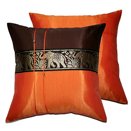 Blue-Mango Thai Throw Pillow Elephant Color Orange-Brown Decorative Pillow Throw Sofa Cover Cushion Cases Size 16x16 Inch. 2 (Red Heart Attack Emblem)