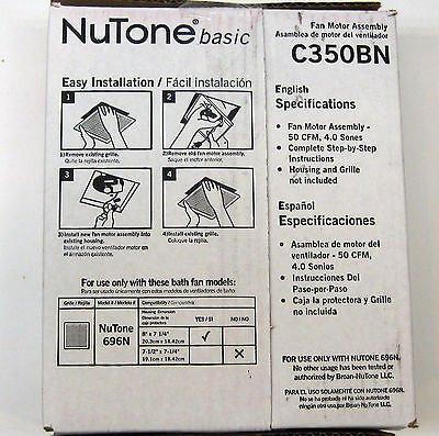 Nutone Model C350B Exhaust Fan Motor Assembly