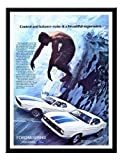Iposters Ford Mustang Surf Car Advert Print 1972 Magnetic Memo Board Black Framed - 41 X 31 Cms (approx 16 X 12 Inches)
