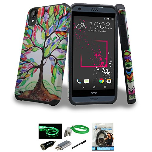 HTC Desire 530 Case, HTC Desire 630 Case, Mstechcorp -- Hybrid Dual Layer Hard Cover Silicone Skin Case - With Accessories