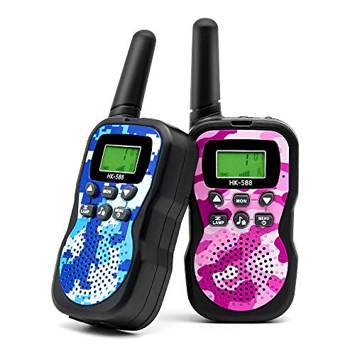 Veroyi Walkie Talkie for Kids, Boys and Girls, 22 Channels 2 Way Radio Toys with Backlit LCD Display and Flashlight for Indoor Outdoor Activity (2-Pack) ()