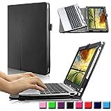 Infiland Acer Aspire Switch 10 HD / Switch 10 FHD (SW5-012/SW5-011/SW5-015) Funda Case-Folio PU Cuero Cascara Delgada con Soporte para Acer Aspire Switch 10 (10,1 pulgadas) Notebook (con Auto Reposo / Activación Función)(Negro)