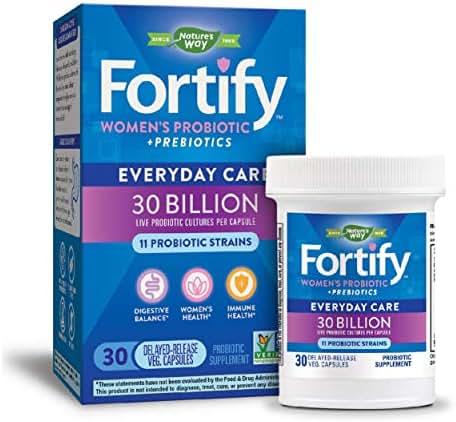 Nature's Way Women's Probiotic, 30 Billion Live Cultures, 11 Strains, Prebiotic, 30 Capsules