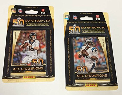 Carolina Panthers vs Denver Broncos 2016 Panini Super Bowl 50 Commemorative Limited Edition NFL Football Factory Sealed 21 Card Set