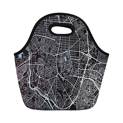 Semtomn Neoprene Lunch Tote Bag Black and White City Map of Madrid Well Organized Reusable Cooler Bags Insulated Thermal Picnic Handbag for Travel,School,Outdoors, Work ()