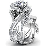 Fashion Women 925 Silver Lotus Flower White Topaz Ring Set Wedding Jewelry (7)