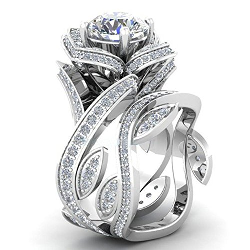 Marquis Diamond Solitaire (Cosines Jewelry - Fashion Women 925 Silver Lotus Flower White Topaz Ring Set Wedding Jewelry Size 11)