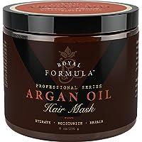 Aceite de Argán Cabello Máscara, 100% orgánico de Argán y Aceites de almendra–terapia de tratamiento de cabello acondicionador profundo, reparación de cabello seco, dañado, color tratada y blanqueado–Hidrata y estimula el crecimiento del cabello., Dorado