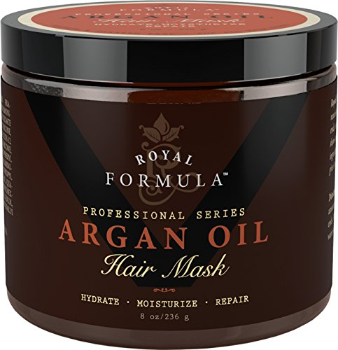 (Argan Oil Hair Mask, 100% ORGANIC Argan & Almond Oils - Deep Conditioner, Hydrating Hair Treatment Therapy, Repair Dry Damaged, Color Treated & Bleached Hair - Hydrates & Stimulates Hair Growth, 8 Oz)