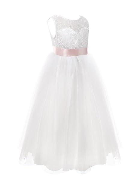 YIZYIF Vestido Bebé Niña Blanco De Encaje Con Cinturón Rosa Sin Mangas De Princesa Vestido De