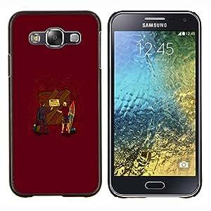 KLONGSHOP // Cubierta de piel con cierre a presión Shell trasero duro de goma Protección Caso - La entrada al infierno - Samsung Galaxy E5 E500 //
