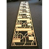 Modern Long Geometric Runner Rug Green Americana Design 115 (32 Inch X15 Feet 10 Inch )