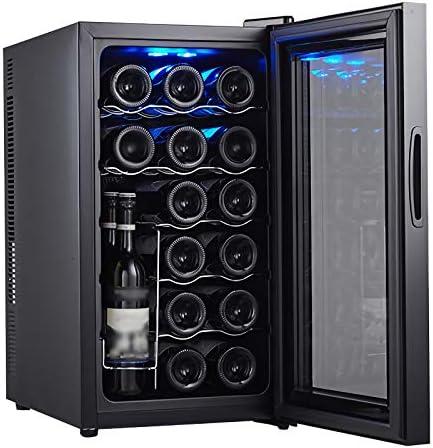 LLZH Vinoteca de 18 Botellas, Refrigerador de Bodega de Mostrador, Nevera de Vino Pequeño de Humedad Constante, Pantalla Digital de Temperatura, Puerta de Vidrio, Negro,B Metal Shelves