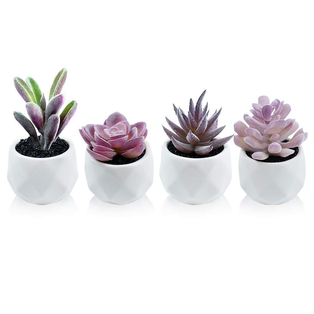 Dream Allison Artificial Plants Desk Fake Succulents Indoor Decor Office Room Decoration Small Tiny Realistic Plants in White Ceramic Potted (Purple, 4 Pots)