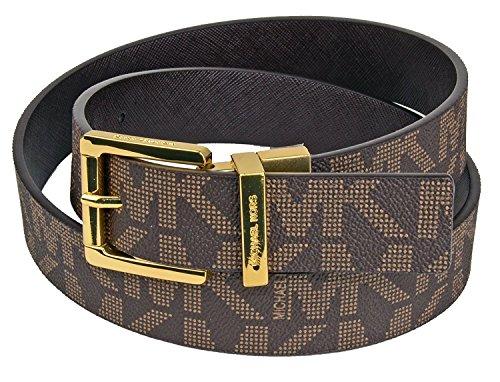Michael Kors Reversible Womens Belt Gold Logo Belt Chocolate Brown Size Medium (Michael Kors Brown Belt)