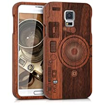 kwmobile Natural Wood case with Design Camera for The Samsung Galaxy S5/S5 Neo/S5 LTE+/S5 Duos in Rosewood Dark Brown