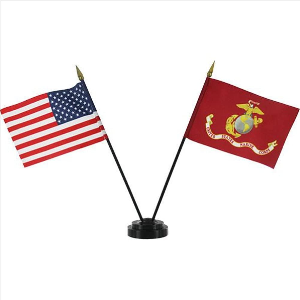 USMC Flag Desk Set - Marine Corps Flag and American Flag Table Display – Miniature US and Marine Flags Standing in Black Base