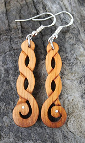 Hand Carved Irish Yew wood Celtic Knot Earrings, Unique Eternity Knot - Knot Earrings Eternal