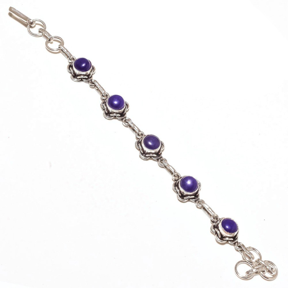 Blue Dyed Sapphire Sterling Silver Overlay 15 Grams Bracelet 7-9 Long Ancient Style