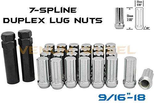Older Chevy - 32 Pc Duplex 7-Spline Locking Lug Nuts Chrome 9/16-18