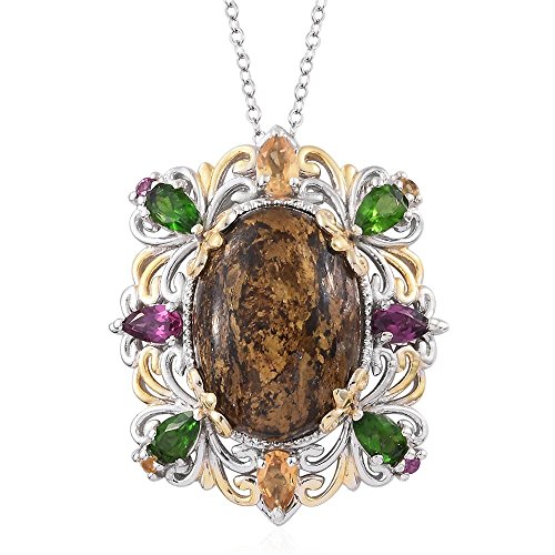 Goldflake Feldspar Multi Gemstone 14K YG and Platinum Plated Sterling Silver Pendant With Chain 20 in 14k Yg Multi Gemstone