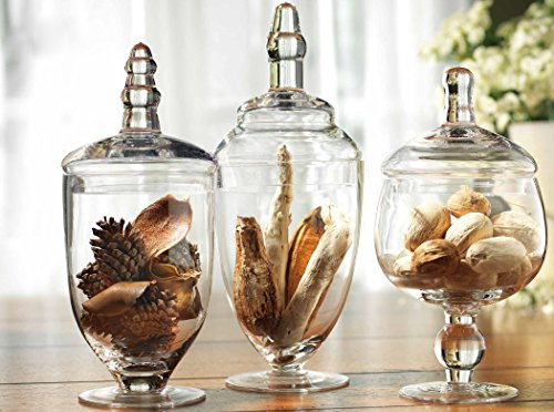 Set of Three (3) Mini Clear Glass Apothecary Jars Candy Buffet Jars, Assorted Footed Glass Canisters With Lids Home Decor Canisters Set ()