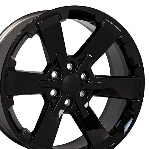 (OE Wheels 22 Inch Fits Chevy Silverado Tahoe GMC Sierra Yukon Cadillac Escalade Silverado Rally Edition Flow Formed CV41 22x9 Rim CK162 Gloss Black Hollander 5662)