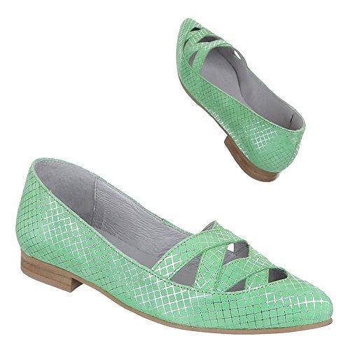 Ital-Design Damen Schuhe, 5235, Pumps Komfort Leder Grün