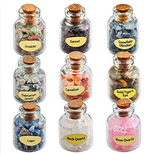 mookaitedecor 9pcs Mini Glass Wishing Bottles Tumbled Gemstone Crystal Chips Healing Reiki Stones Set