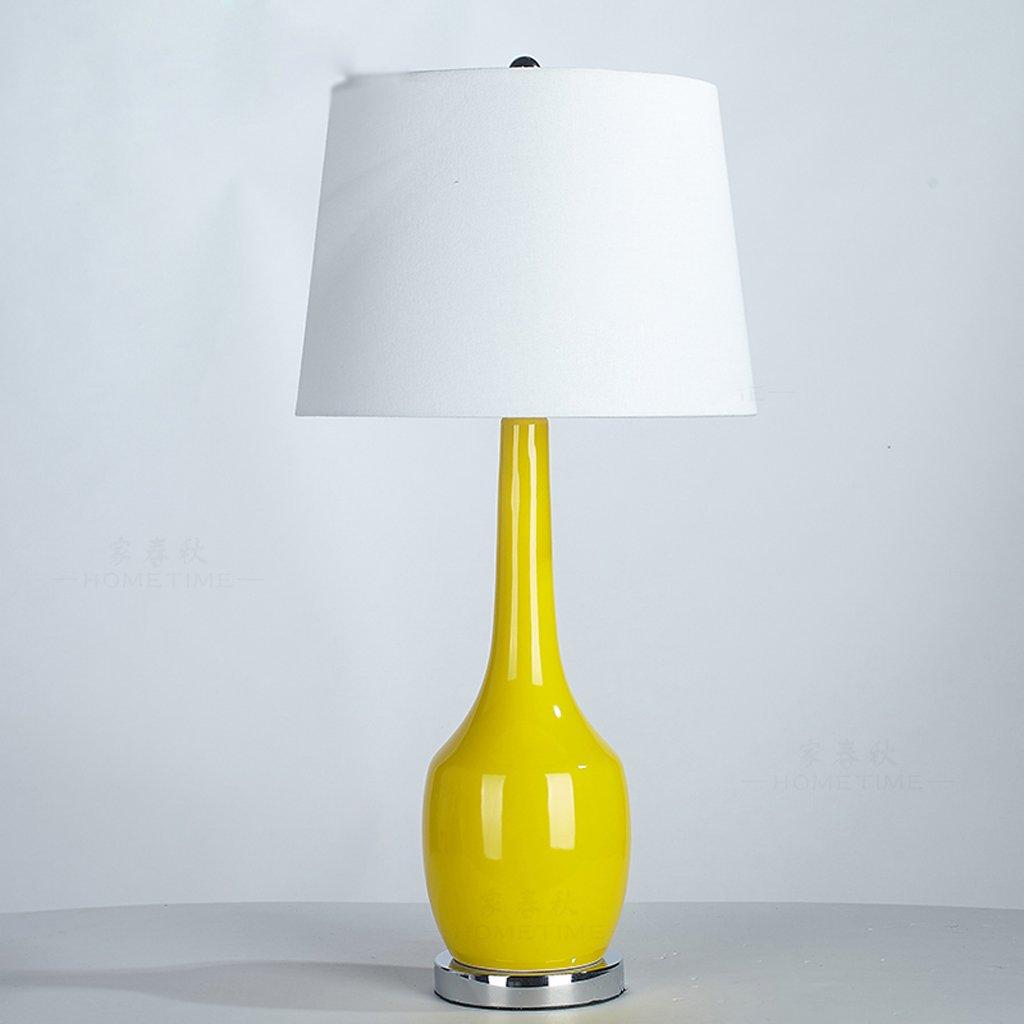 アメリカの黄色い地中海のリビングルームスタディテーブルランプガーデンベッドルームベッドサイドテーブルセラミックテーブルランプ B07DBL7829 Parent