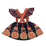 Seaby Baby Girls Floral Printing Ruffles Bohemia Style Overlap Dress Summer Clothes (100(12-18Months), Multicoloured)