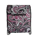 Drawstring Bag Backpack Pink Grey Paisley Floral Cinch Bag