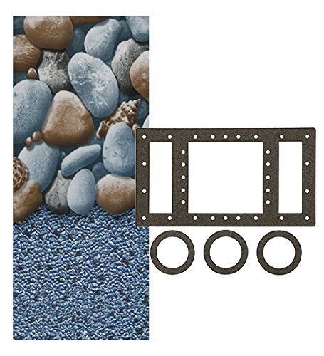 Smartline Rock Island 18-Foot Round Liner | Overlap Style | 48-to-52-Inch Wall Height | 25 Gauge Virgin Vinyl | Designed for Steel Sided Above-Ground Swimming Pools | Universal Gasket Kit Included