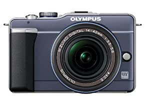 Olympus PEN E-PL1 12.3MP Live MOS Micro Four Thirds Mirrorless Digital Camera with 14-42mm f/3.5-5.6 Zuiko Digital Zoom Lens (Slate Blue) (Old Model)