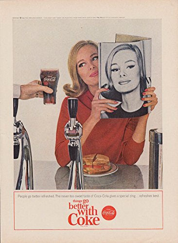 People go better refreshed Coca-Cola ad 1964 fashion model soda fountain NY