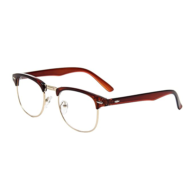cc6d088c9e Shiratori New Vintage Classic Half Frame Semi-Rimless Clear Lens Glasses  brown  Amazon.co.uk  Clothing