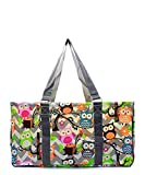 Owl Chevron Stripe All Purpose Large Wire Frame Utility Tote Bag Collapsible Grey