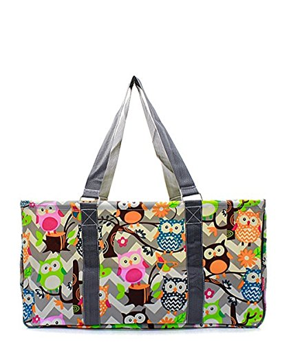 Owl Chevron Stripe All Purpose Large Wire Frame Utility Tote Bag Collapsible Grey by Handbag Inc