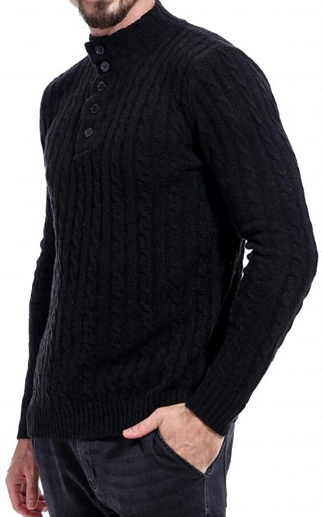 Fubotevic Mens High Collar Hollow Out Pure Color Winter Hemp Flowers Warm Thicken Pullover Sweaters
