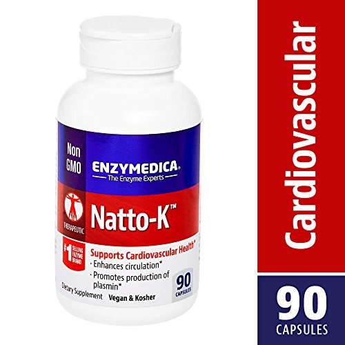 Enzymedica - Natto-K, Nattokinase for the Support of Cardiovascular Health, 90 Capsules (FFP) - Nattokinase 90 Capsules