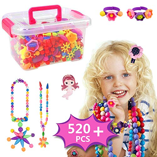 Runjnan Pop Beads Set - 520PCS Pop Beads Snap For Girls Toddlers Kids Creative DIY Jewelry Kit Toys-Making Necklace, Bracelet, Hairband and Ring -Mermaid Ideal Gift for Christmas & Birthday
