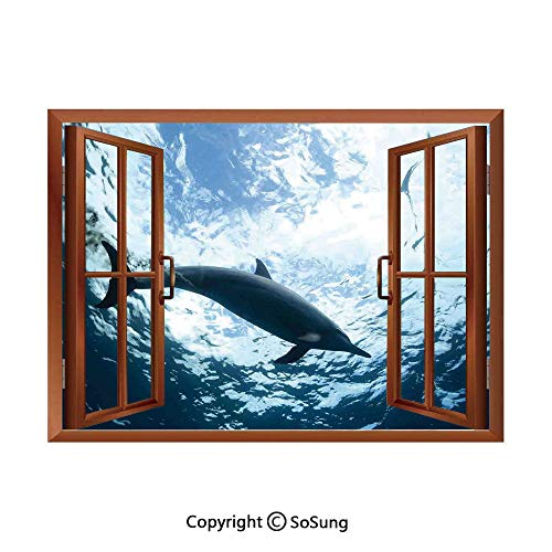 (Sea Animals Decor Removable Wall Sticker/Wall Mural,Bottlenose Dolphin Poops in Ocean Marine Underwater Aquatic Wildlife Theme Creative Open Window design Wall Decor,24