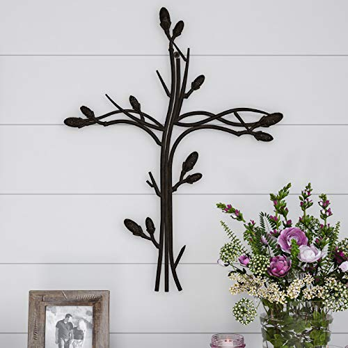 Lavish Home Handmade Short Flat White Mango Wood Vase Metal Wall Cross Intertwined Vine Design-Rustic Handcrafted Religious Art for Decor in Living Room, (Iron Wall Crosses)