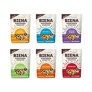 BIENA Chickpea Snacks Variety Pack | Gluten Free | Dairy Free | Vegetarian | Plant-Based Protein - 6 Bags (Packaging May Vary)