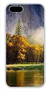 iPhone 5 5S Case Mountain Forest Spruce Lake PC Custom iPhone 5 5S Case Cover White