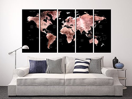 Extra Large Wall Decals Black and Rose Gold World Map on Canvas