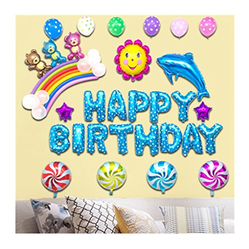 Happy birthday foil balloons banner, letters bear shaped party celebration decorations (Letter Home To Parents For Halloween Party)